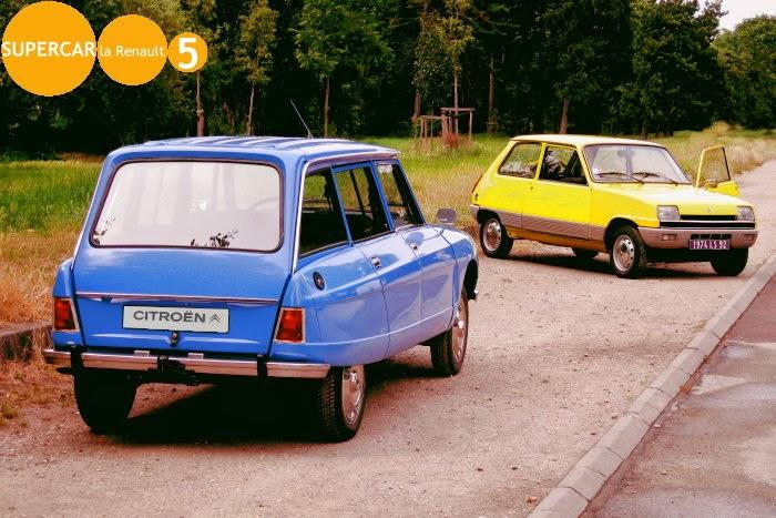 Ami 8 break blauw met Renault 5